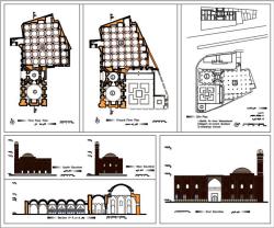 نقشه اتوکد مسجد تاریخی صاحب الامر تبریز(فایل اتوکد، پلانها، نماها، برش و...)